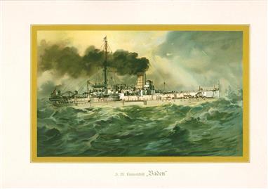 """( LITHO ). Deutschland zur see : S.M. Linienschiff """"BADEN """""""