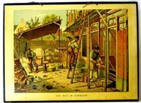 ( SCHOOLPLAAT ) Een huis in aanbouw ( a house under construction. The mason at work )