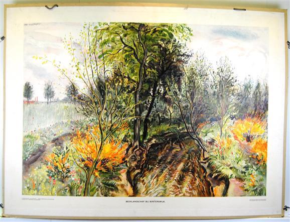 (SCHOOLPLAAT - SCHOOL POSTER / MAP - LEHRTAFEL) Beeklandschap bij Winterswijk                Aardrijkskundige wandplaten van Nederland