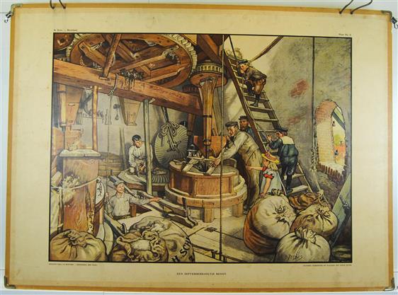 (SCHOOLPLAAT - SCHOOL POSTER / MAP - LEHRTAFEL) Een Septemberkoeltje benut ( interior view of a corn windmill )