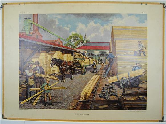 (SCHOOLPLAAT - SCHOOL POSTER / MAP - LEHRTAFEL) Bij den Houtkooper ( at the timber-merchant )