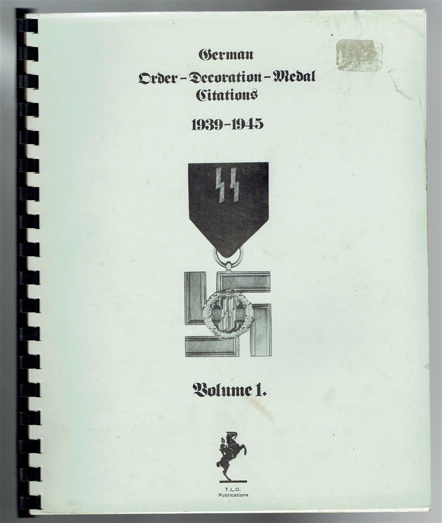 German order-decoration-medal citations; 1939-1945.