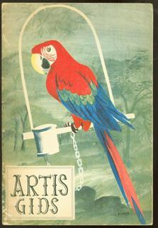 """Artis-gids. ( voorzijde met Papagaai / Ara getekend door """" Bijmoer """" )"""