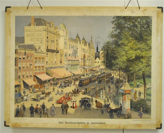 (SCHOOLPLAAT - SCHOOL POSTER / MAP - LEHRTAFEL) Het Rembrandtplein te Amsterdam