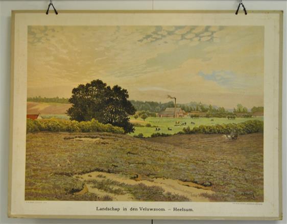 (SCHOOLPLAAT - SCHOOL POSTER / MAP - LEHRTAFEL) Landschap in den Veluwezoom ( papierfabriek Schut )