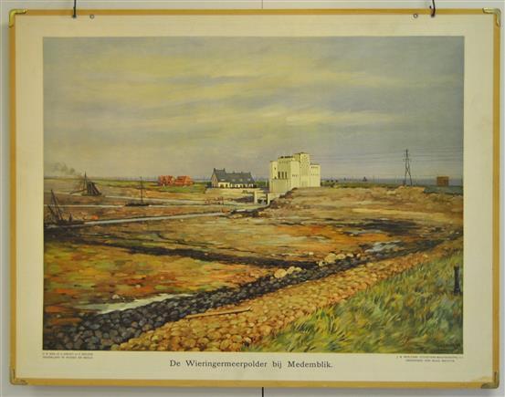 (SCHOOLPLAAT - SCHOOL POSTER / MAP - LEHRTAFEL) De Wieringermeerpolder bij Medemblik ( Gemaal Lely bij Medemblik )