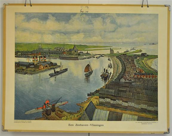 (SCHOOLPLAAT - SCHOOL POSTER / MAP - LEHRTAFEL) Een Zeehaven - Vlissingen