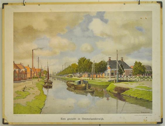 (SCHOOLPLAAT - SCHOOL POSTER / MAP - LEHRTAFEL) Een gezicht in Ommelanderwijk.