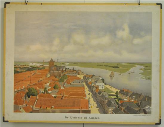 (SCHOOLPLAAT - SCHOOL POSTER / MAP - LEHRTAFEL) De IJseldelta bij Kampen
