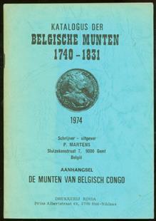 """Katalogus der Belgische munten 1740-1831 ; Aanhangsel """"De munten van Belgisch Congo"""", met prijsherziening , Munten van Belgisch Congo"""