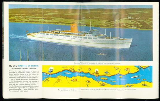 "Go Empress to Canada & USA: Empress of Scotland, Empress of France, Empress of Britain ( folded brochure on "" The white Empress fleet """