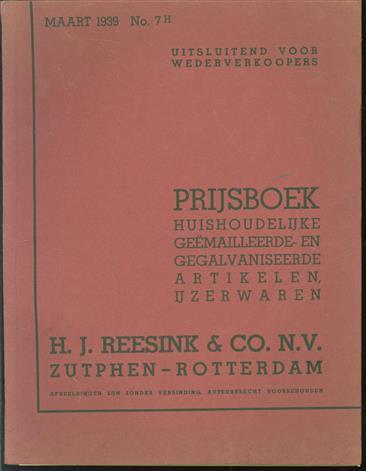 Prijsboek : huishoudelijke geëmailleerde- en gegalvaniseerde artikelen, ijzerwaren, fornuizen.
