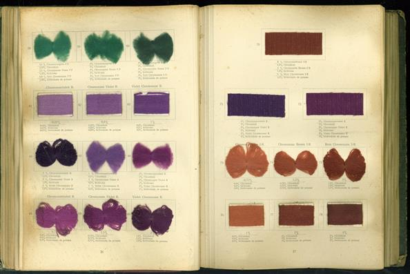 ( Textile Sampler )  Die Wollfarbstoffe des Jahres 1910 - Wool Colours 1910 - Les colorants pour laine de lánnée 1910