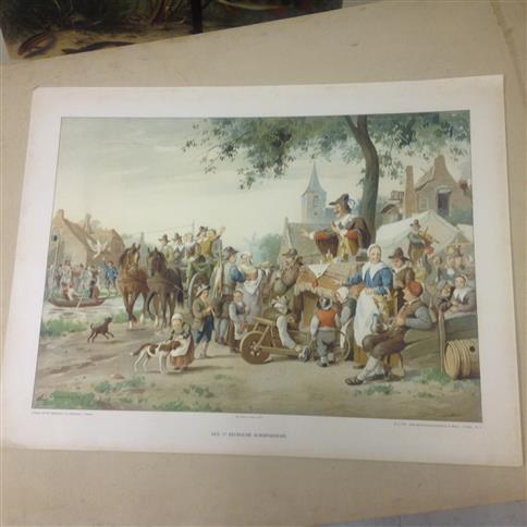 (SCHOOLPLAAT - SCHOOL POSTER / MAP - LEHRTAFEL) Onze beschavingsgeschiedenis in beeld: plaat 2e serie nr 6:  Een 17e Eeuwse boerenkermis  ( = Our civilization history A 17th Century farmer fair )
