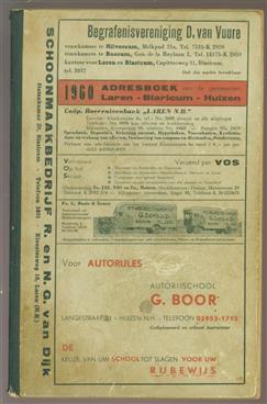 1960. Adresboek van de gemeenten Laren - Blaricum - Huizen