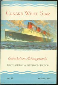 Cunard White Star. Embarkation Arrengements - Southhampton & Liverpool Services