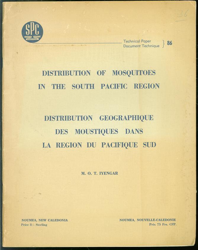 Distribution of mosquitoes in the South Pacific region. Distribution géographique des moustiques dans la région du Pacifique sud.
