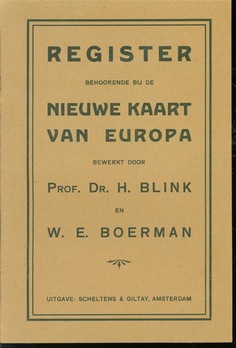 Register behoorende bij de Nieuwe kaart van Europa