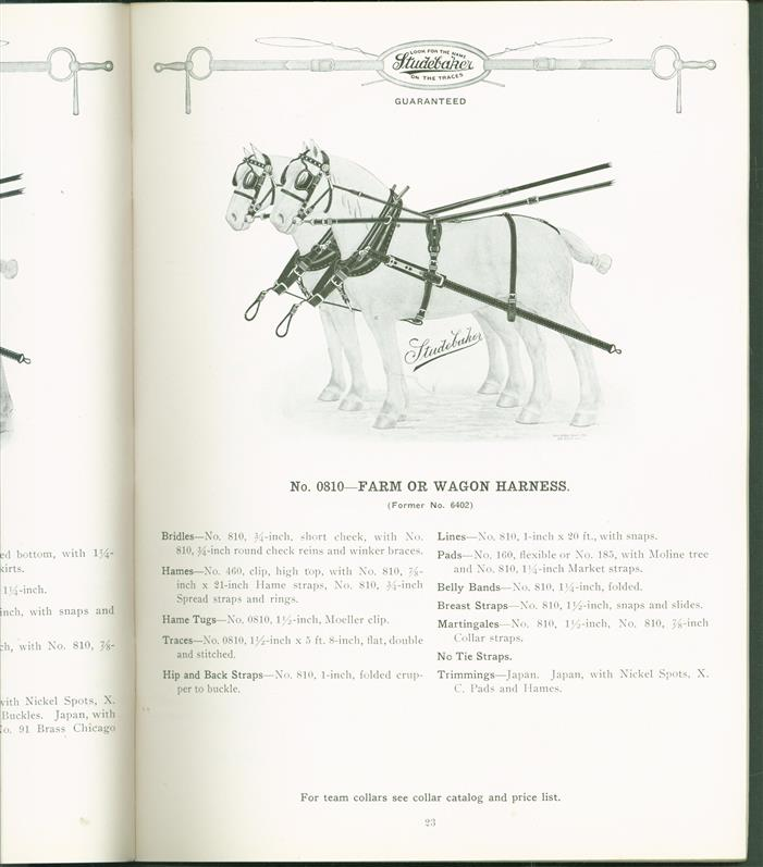 Team and Wagon Harness and strap work Catalog No 1191