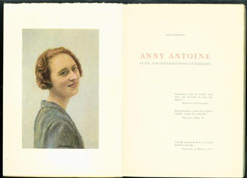 Anny Antoine, sa vie, nos conversations litt�raires