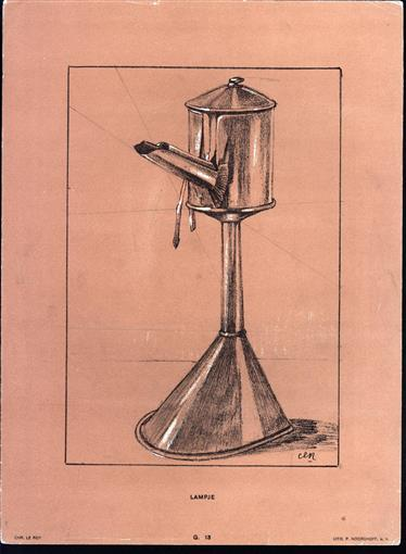 (DECORATIEVE PRENT - LITHO ) LAMPJE ( Snotneus )