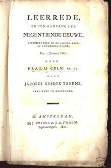 Leerrede, bij den aanvang der negentiende eeuwe, uitgesprooken in de Amstel Kerk, op donderdag avond, den 1. januarij 1801. over Psalm CXLV.  vs. 13.