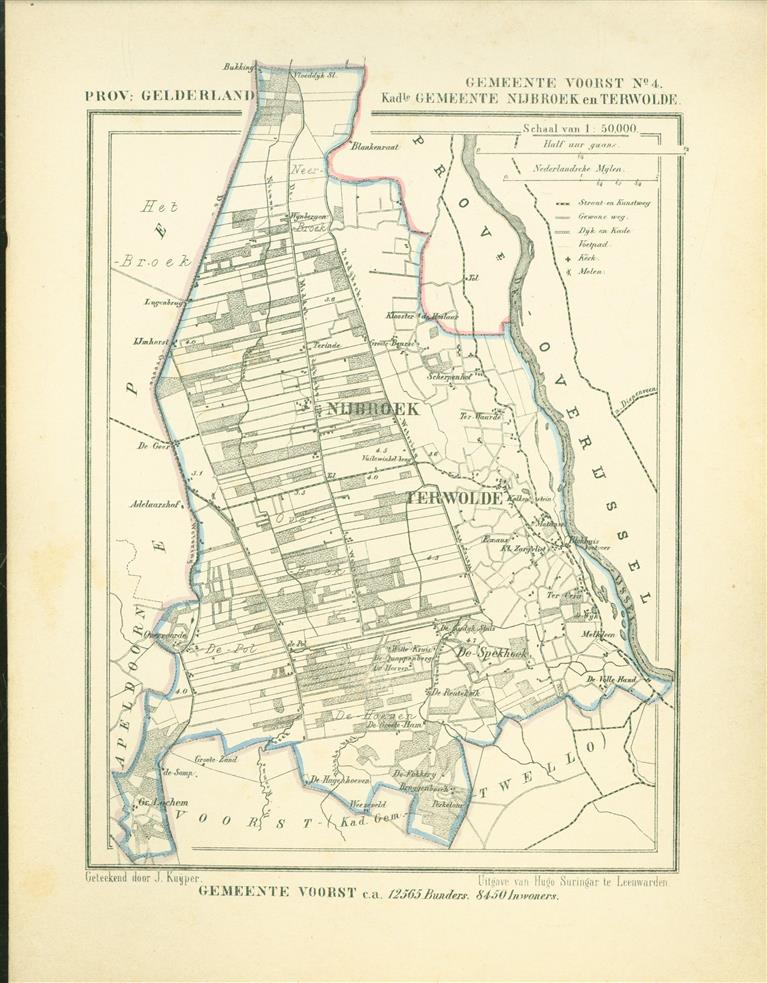 VOORST ( Kadastrale gemeenten NIJBROEK en TERWOLDE ) . Map Kuyper Gemeente atlas van GELDERLAND