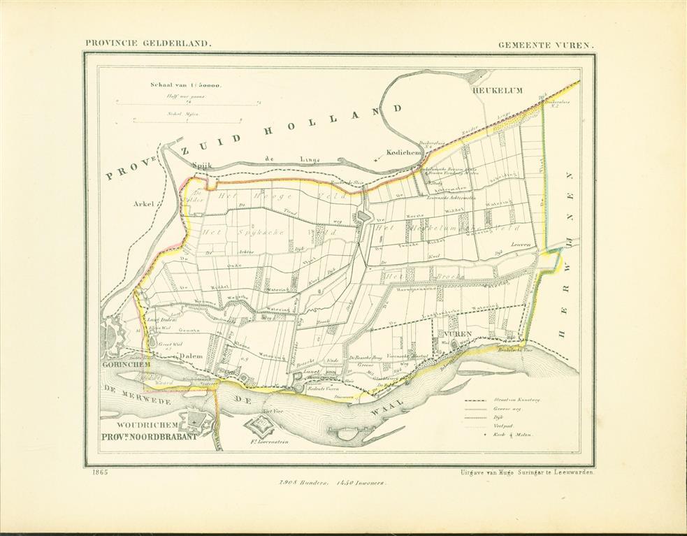 VUREN . Map Kuyper Gemeente atlas van GELDERLAND