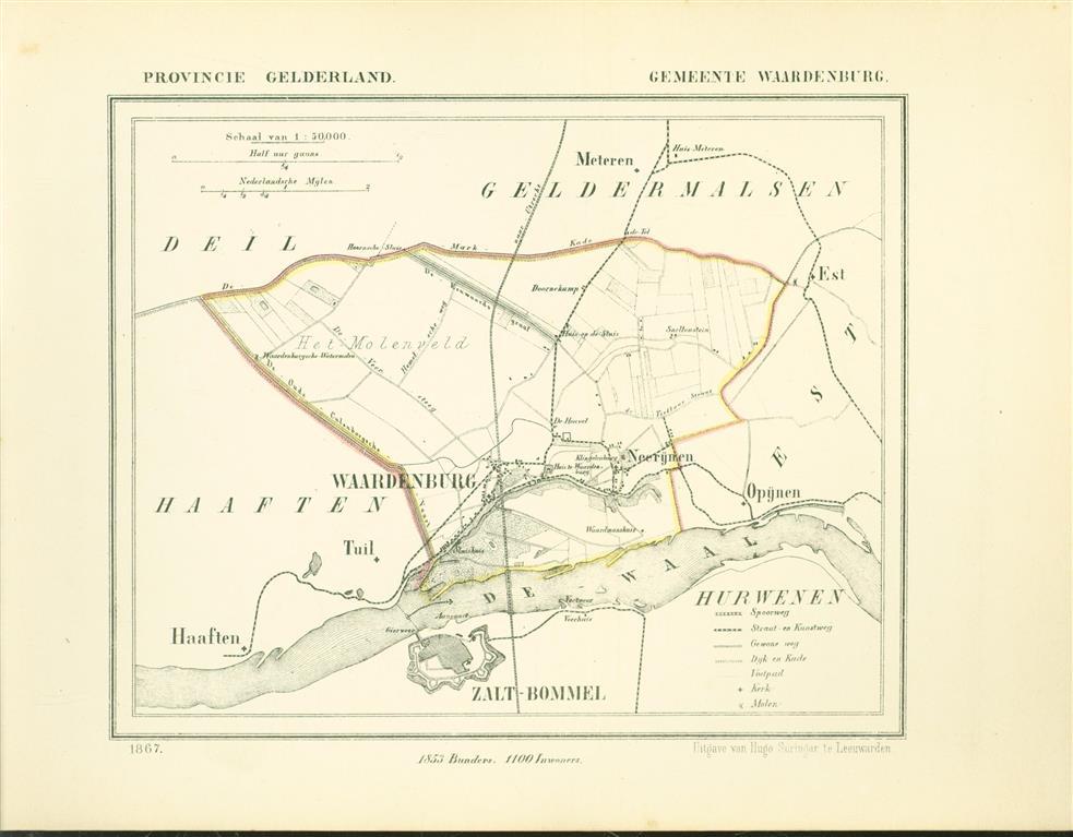 WAARDENBURG . Map Kuyper Gemeente atlas van GELDERLAND