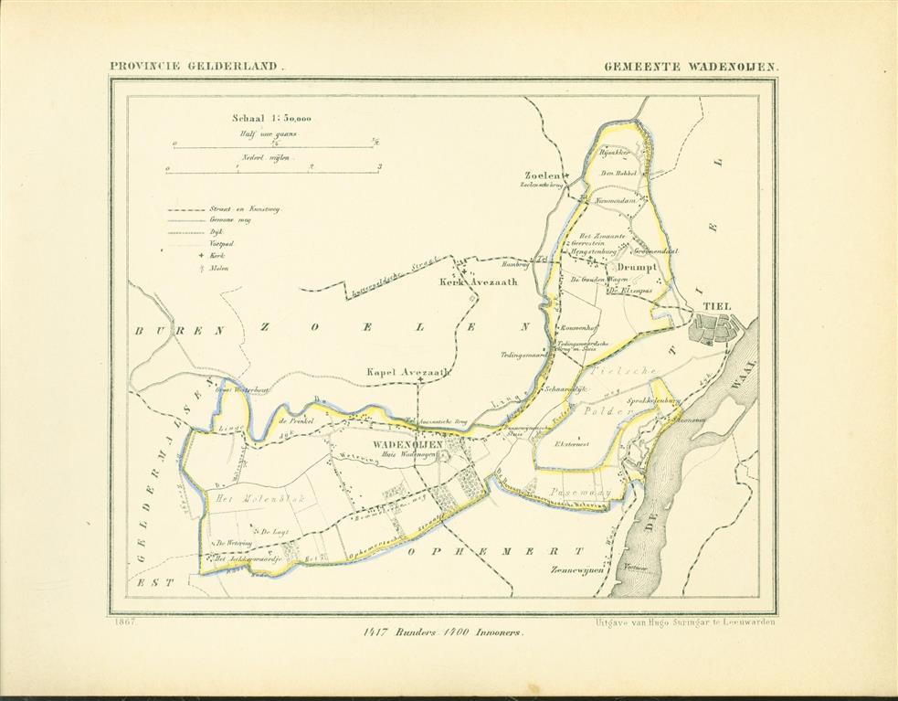 WADENOIJEN . Map Kuyper Gemeente atlas van GELDERLAND