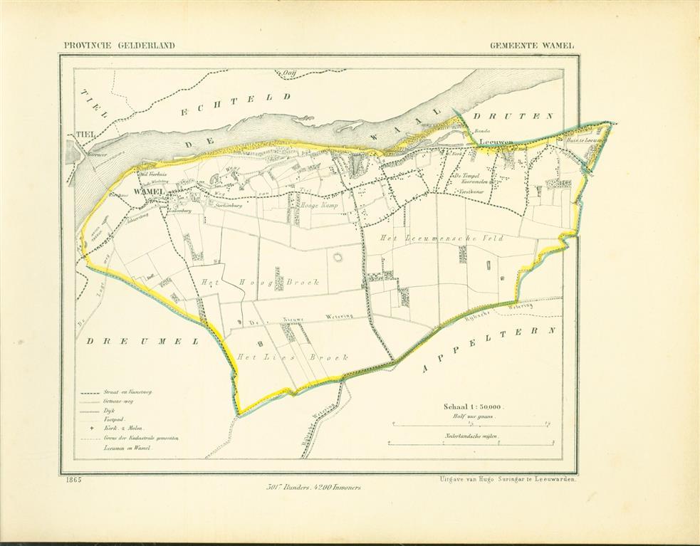 WAMEL. Map Kuyper Gemeente atlas van GELDERLAND