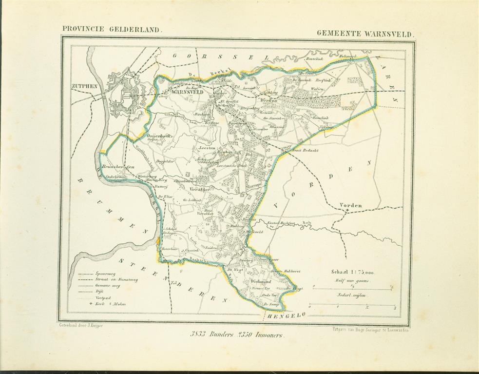 WARNSVELD . Map Kuyper Gemeente atlas van GELDERLAND