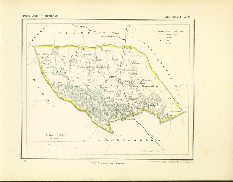 WEHL . Map Kuyper Gemeente atlas van GELDERLAND