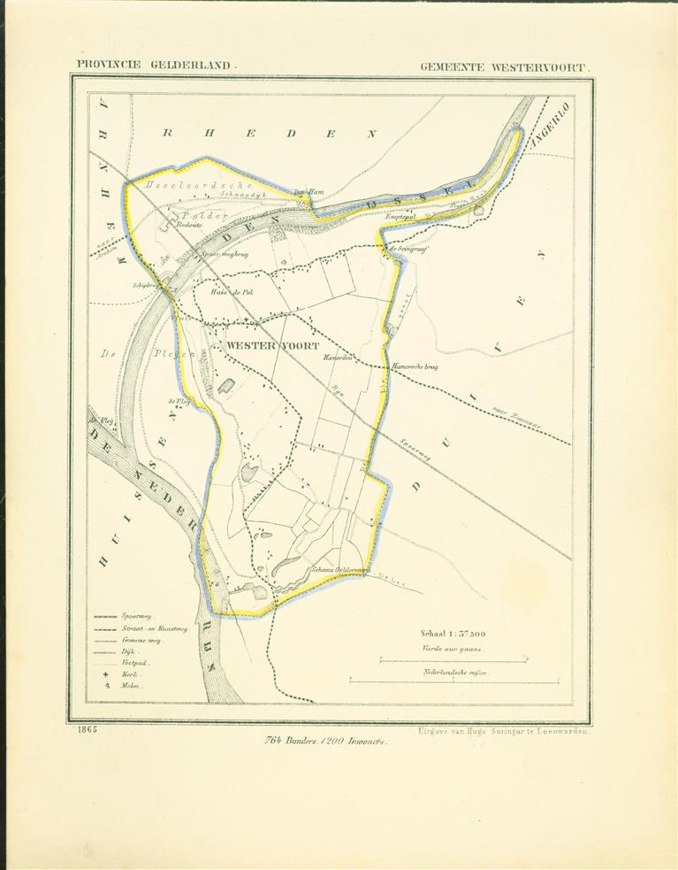 WESTERVOORT . Map Kuyper Gemeente atlas van GELDERLAND