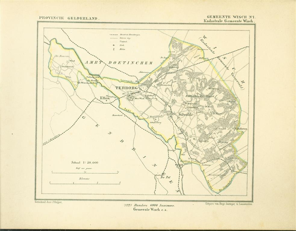 WISCH. Map Kuyper Gemeente atlas van GELDERLAND