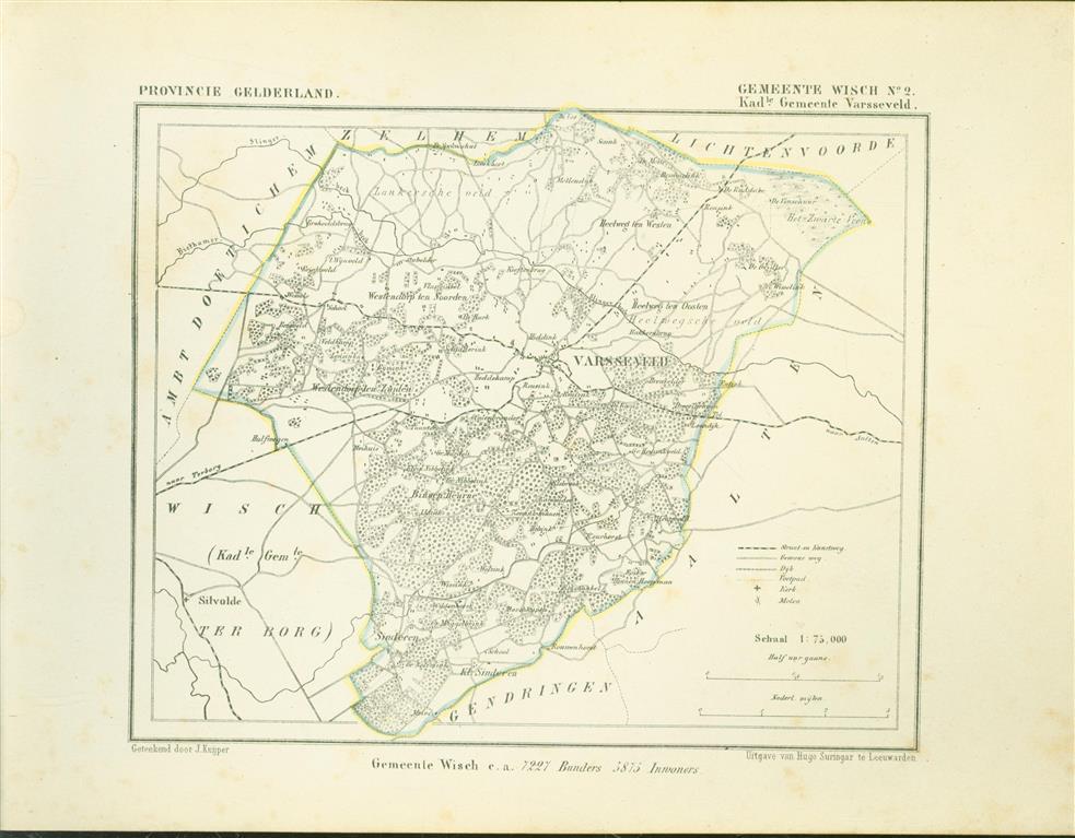 WISCH ( Kadastrale gemeente VARSSEVELD. )Map Kuyper Gemeente atlas van GELDERLAND