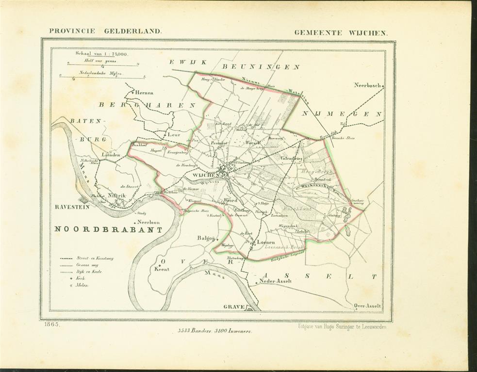 WIJCHEN. Map Kuyper Gemeente atlas van GELDERLAND