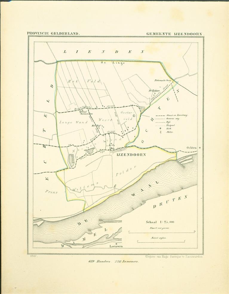 IJZENDOORN. Map Kuyper Gemeente atlas van GELDERLAND