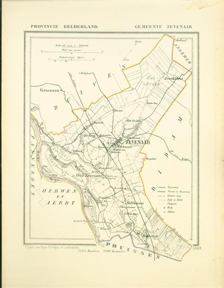 ZEVENAAR. Map Kuyper Gemeente atlas van GELDERLAND
