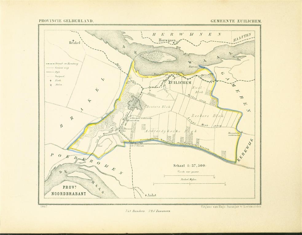 ZEULICHEM . Map Kuyper Gemeente atlas van GELDERLAND