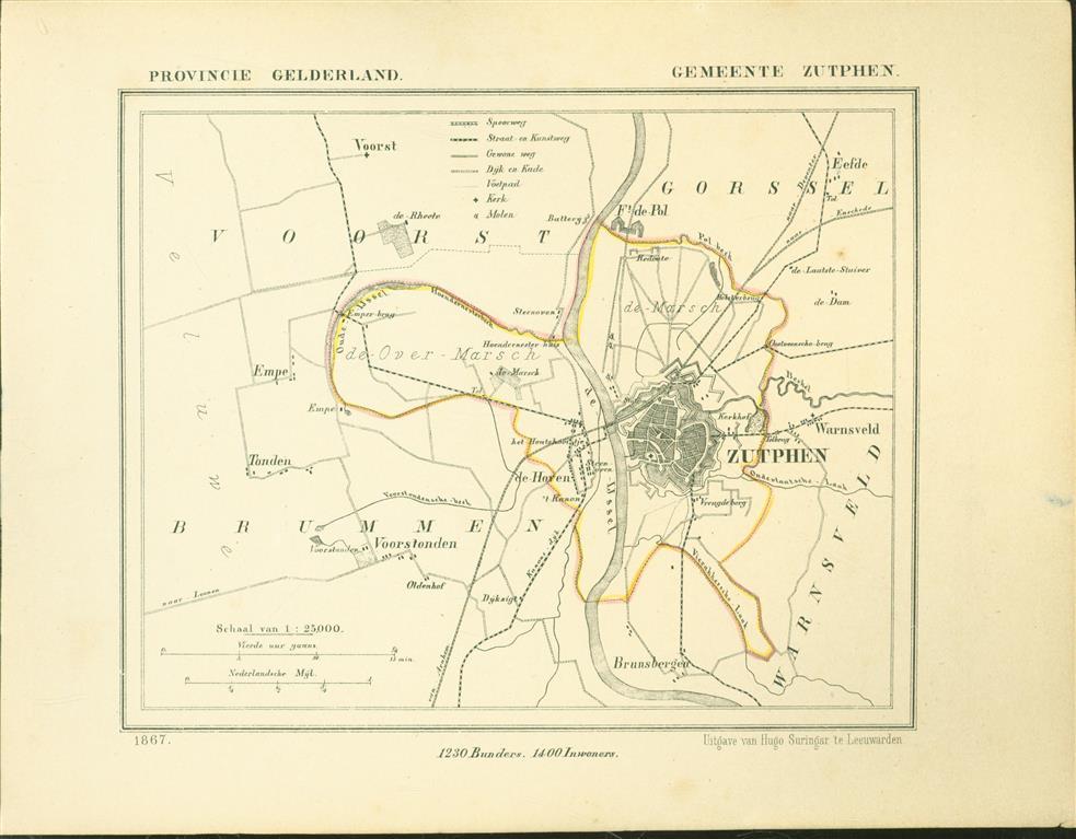 ZUTPHEN . Map Kuyper Gemeente atlas van GELDERLAND