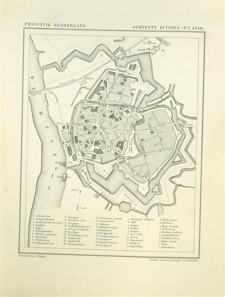 ZUTPHEN - STAD. Map Kuyper Gemeente atlas van GELDERLAND