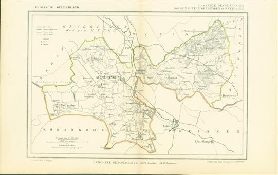 GENDERINGEN ( Kadastrale gemeenten GENDERINGEN en NETTERDEN . Map Kuyper Gemeente atlas van GELDERLAND