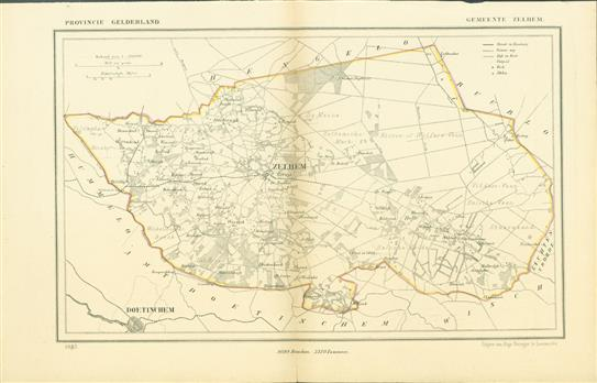 ZELHEM . Map Kuyper Gemeente atlas van GELDERLAND