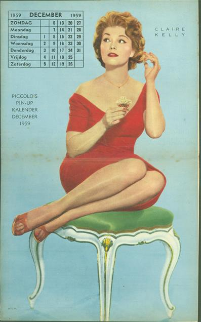 (SMALL POSTER / PIN-UP) Piccolo Kalender - 1959 December- Claire Kelly