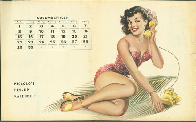 (SMALL POSTER / PIN-UP) Piccolo Kalender - 1959 November - ??
