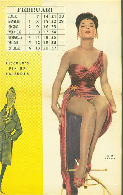 (SMALL POSTER / PIN-UP) Piccolo Kalender - 1960 ? Februari -Kim Parker