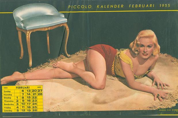 (SMALL POSTER / PIN-UP) Piccolo Kalender - 1955 Februari-  Mamie van Doren