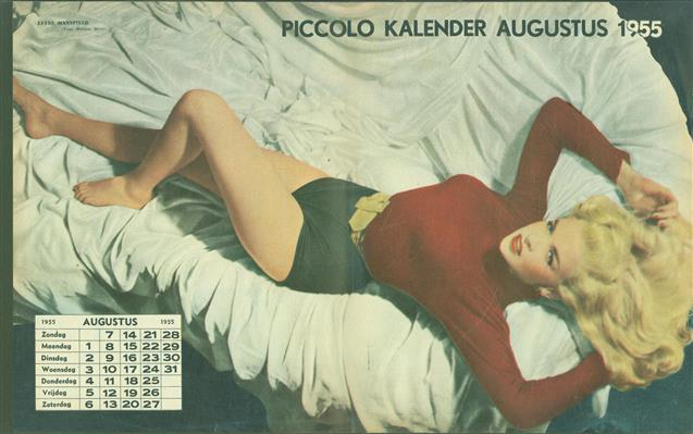 (SMALL POSTER / PIN-UP) Piccolo Kalender - 1955 Augustus-  Jane Mansfield