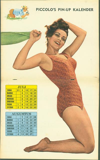 (SMALL POSTER / PIN-UP) Piccolo Kalender - 1960 ? Juli & Augustus - ??